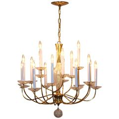 1950s Modern Large Brass and Cut-Glass Chandelier by Lightolier