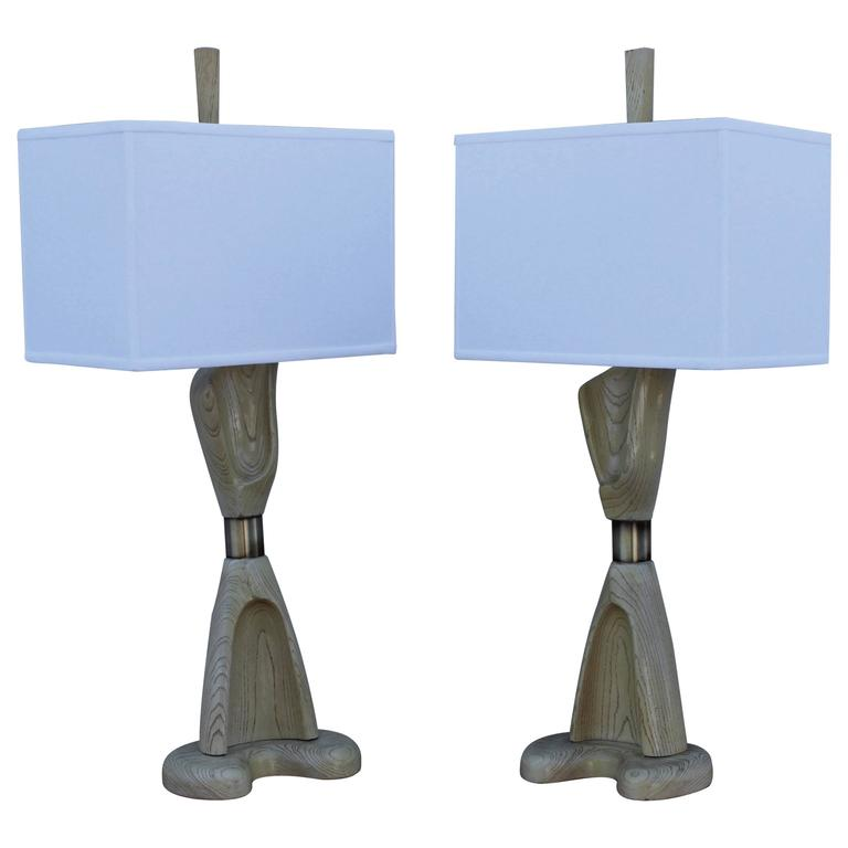 1960s Cerused Oak Sculptural Table Lamps by Modeline