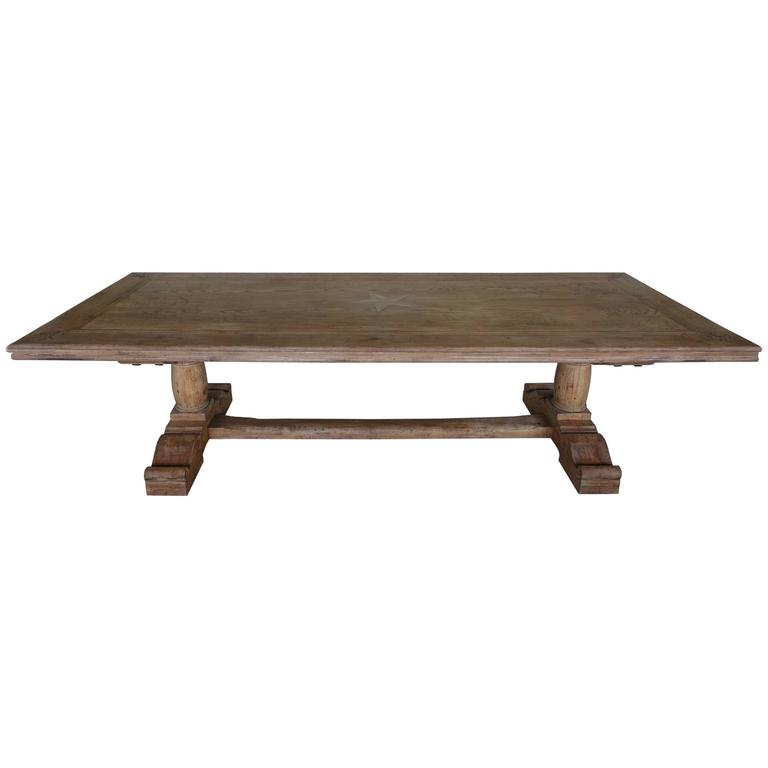 Italian Walnut Dining Table with Inlaid Star