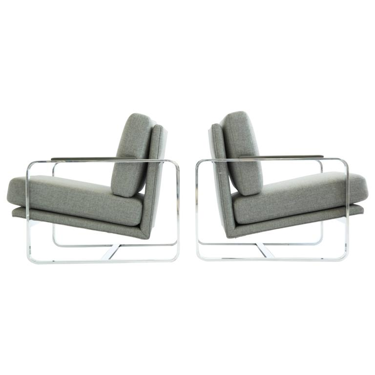 Milo Baughman Style Lounge Chairs