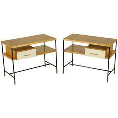 Two Bedside Tables, Ashwood Veneer Formica Metal Brass Tips Vintage, Italy 1950s