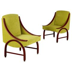Two Armchairs Lacquered Bentwood Foam Padding Fabric Upholstery Vintage, 1960s