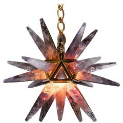 Amethyst Star III Chandelier, Gold Edition by Alexandre Vossion