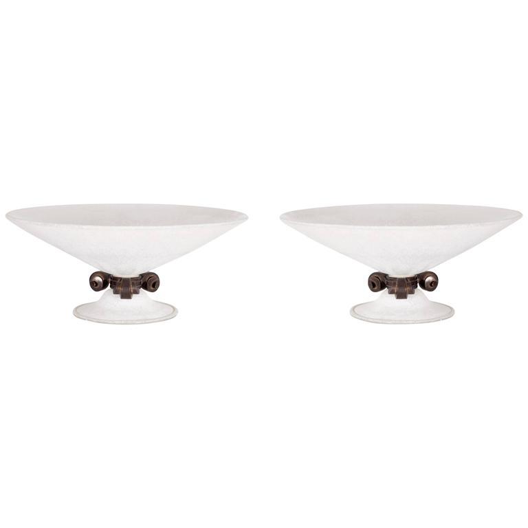 Pair of Italian Murano Glass Bowls Signed Seguso Vetri d'Arte, circa 1980s