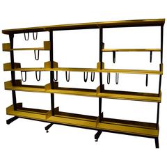 Scandinavian Modular Library Shelving in Yellow and Black Metal by Reska Denmark