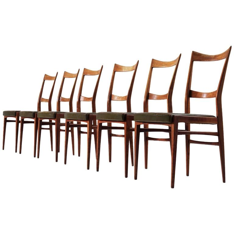Set of Six Italian Dining Chairs in Walnut and Green Leather Upholstery