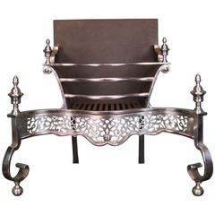 19th Century English Steel Fireplace Fire Grate