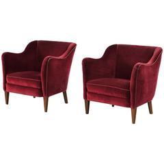 Pair of Scandinavian Armchairs in Red Velvet