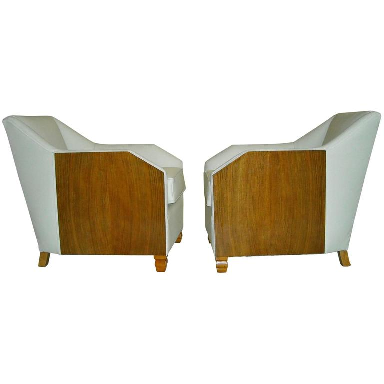 1930 Pair of Armchairs Off-White Leather and Rosewood For Sale