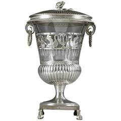 19th Century Empire Silver and Crystal Candy Dish