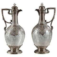 Pair of Silver and Crystal Ewers with Floral Decoration, 19th Century