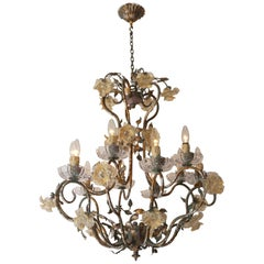 Italian Chandelier with Glass Flowers