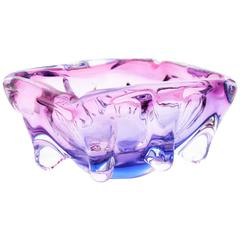 Seguso Hand Blown Pink, Purple and Blue Sommerso Murano Glass Bowl, Italy 1960s