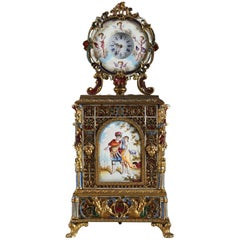 Viennese Enamel and Gilt Brass Table Clock, Mid-19th Century