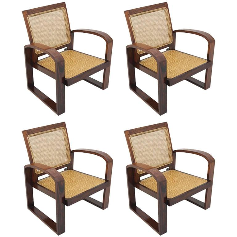 4 Art Deco French Colonial Rosewood Armchairs With Caned Backs And Woven  Seats For Sale
