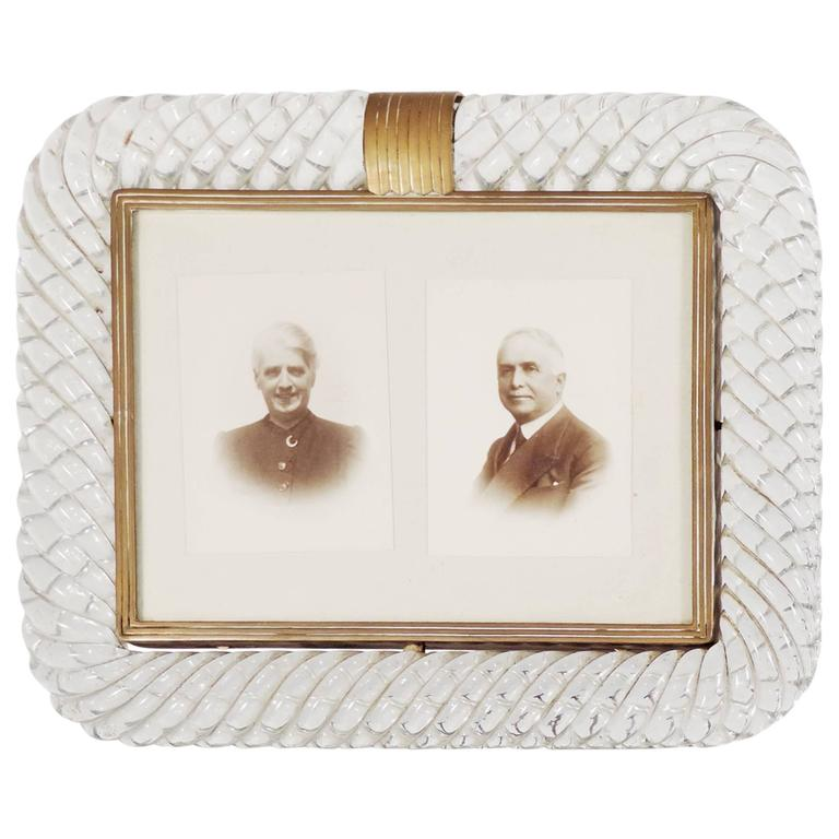 Large Venini Torciglione Glass Photo Frame