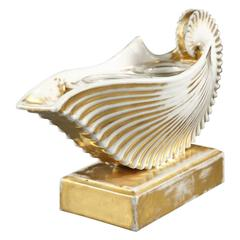 19th Century Shell-Shaped, White Porcelain Inkwell