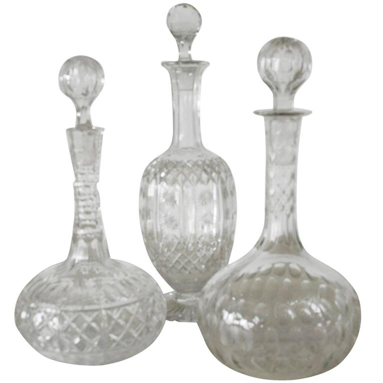 Group of Three Antique Cut Glass or Crystal Decanters, English, circa 1860
