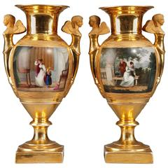 Pair of Empire Period Porcelain Vases, 19th Century