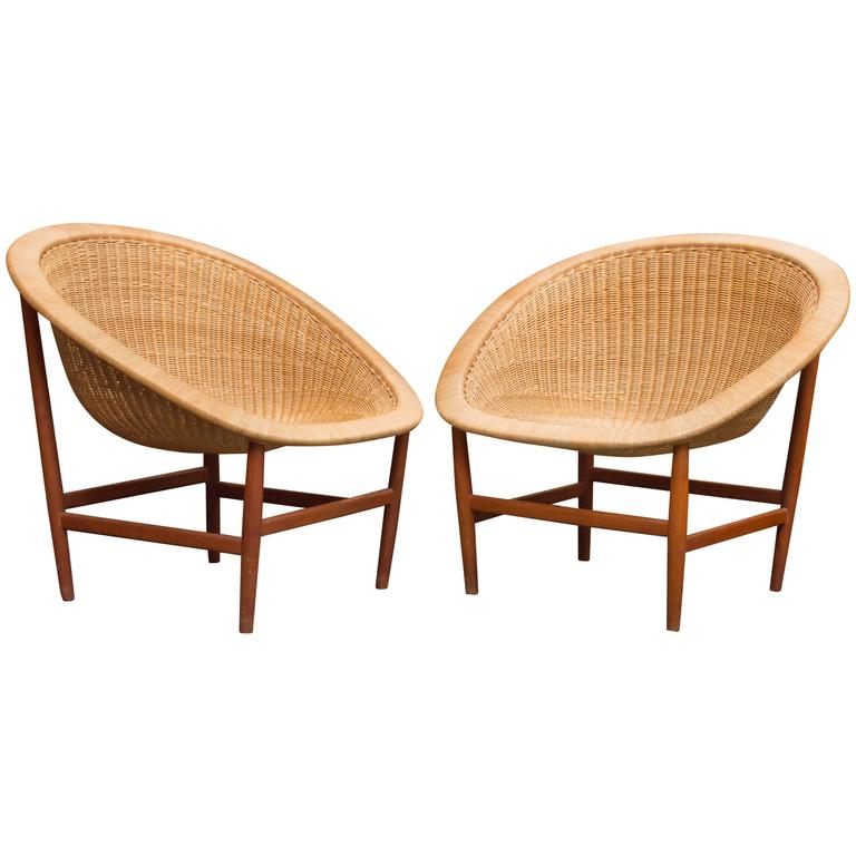 Nanna and Jørgen Ditzel Wicker Lounge Chairs