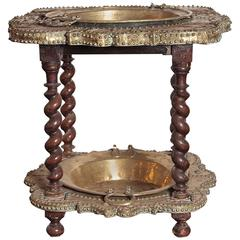 "18th Century Spanish Brass and Copper ""Brasero"" with Walnut Barley Twist Legs"