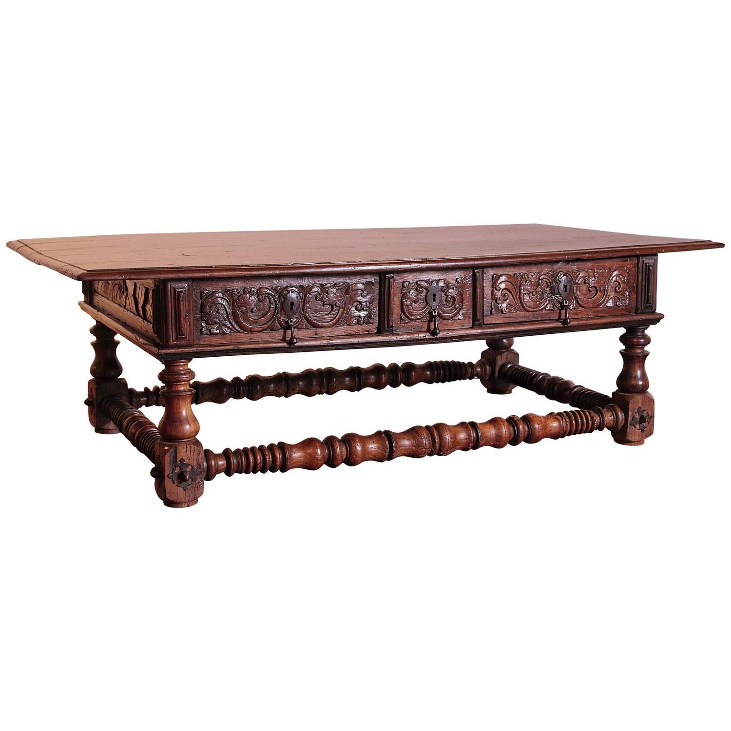 Large 18th Century Spanish Carved Chestnut Coffee Table With Drawers
