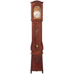 19th Century French Louis XV Hand-Carved Walnut Grandfather Clock from Provence