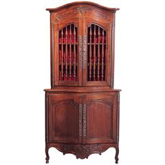 19th Century French Louis XV Carved Walnut Bombe Corner Cabinet from Provence