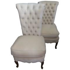 Pair of High Style Vintage Tufted Slipper Chairs
