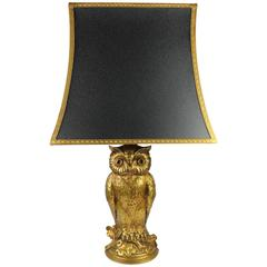 Gilt Owl Lamp with Black and Gilt Shade, 1970s