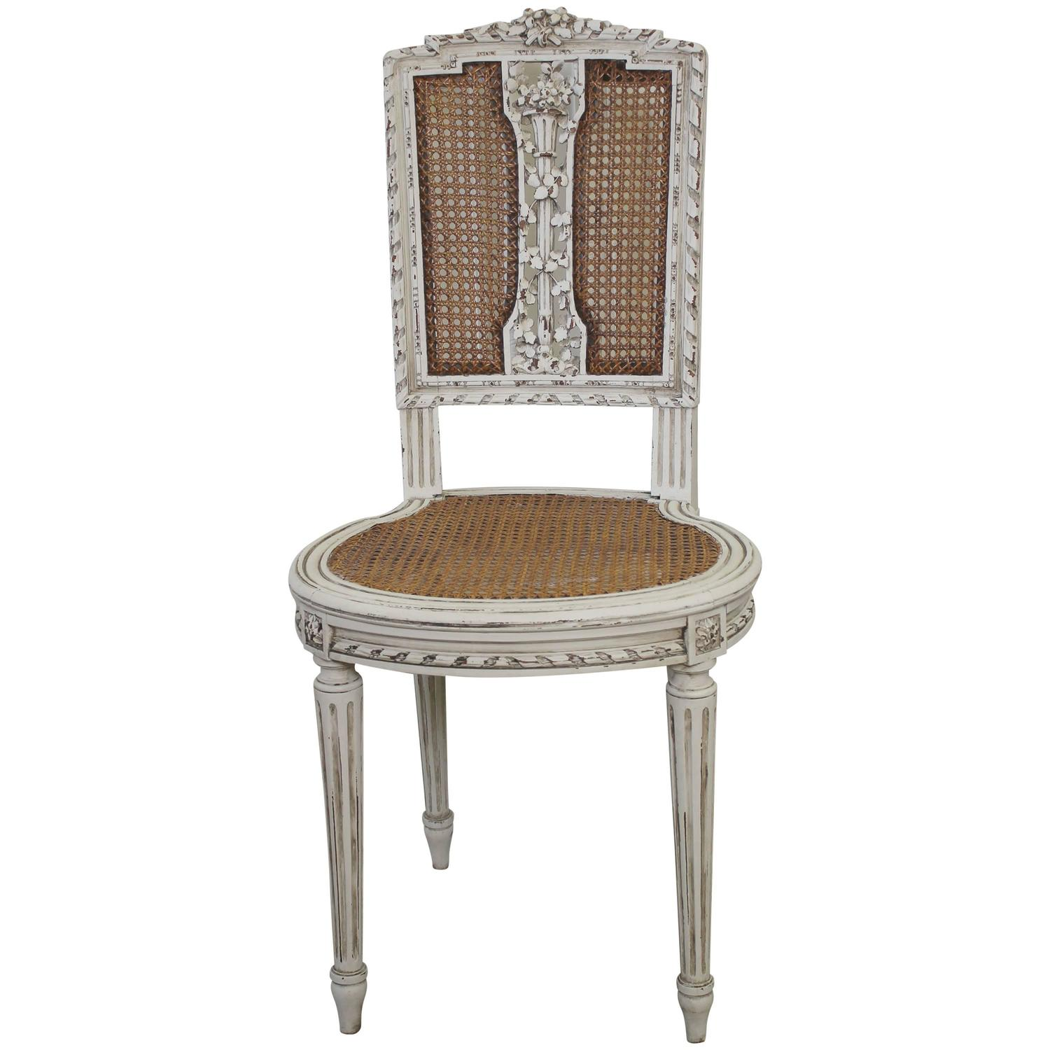 Antique Louis XVI Cane Back Vanity Chair at 1stdibs