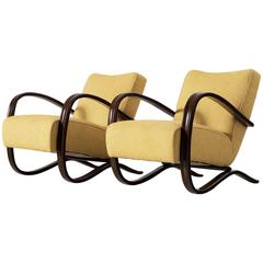Jindrich Halabala Pair of Yellow Lounge Chairs