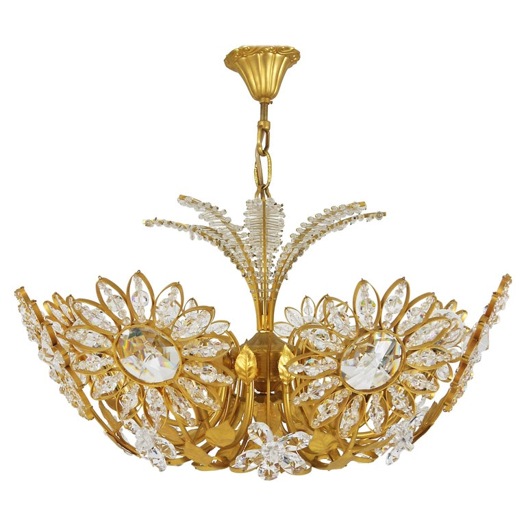 Palwa Flower Palm Tree Chandelier, Gilt Brass and Crystals, Germany, 1970s For Sale
