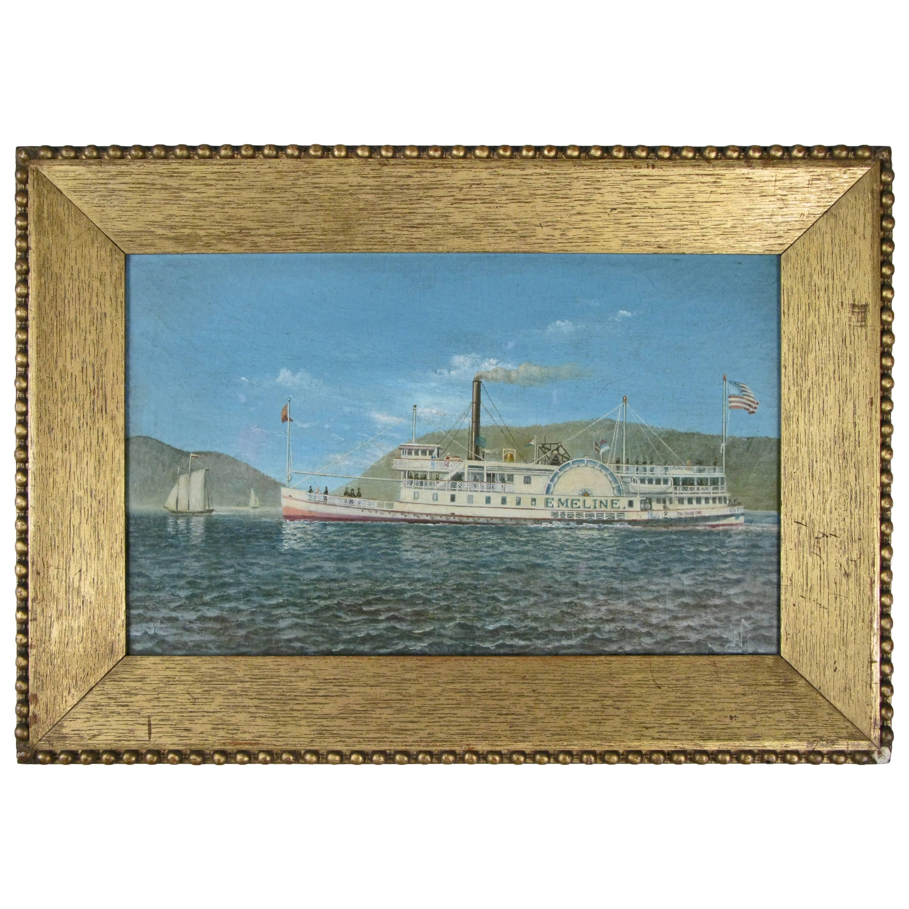 Oil on Canvas Paddle Steamer Painting by Albert Nemethy