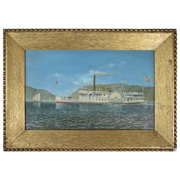 Oil on Canvas Paddle Steamer Painting by Albert Nemethy For Sale