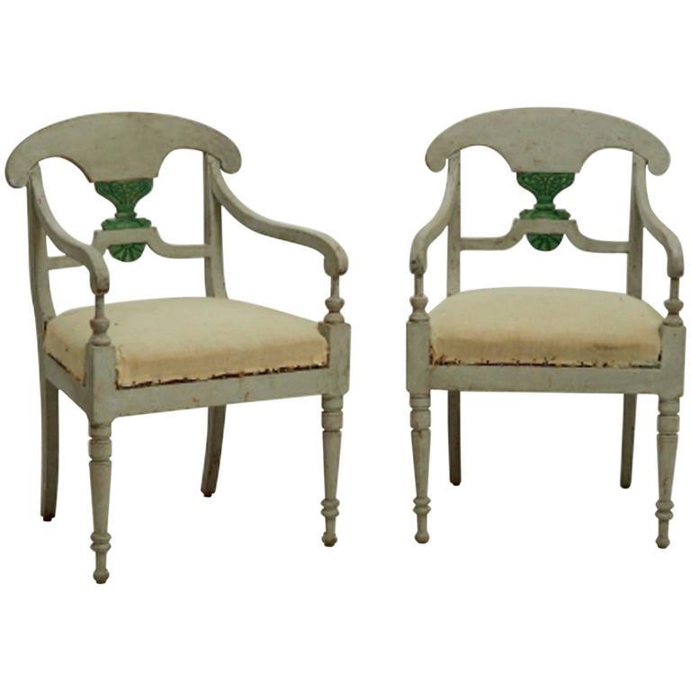 19th Century, Antique Pair of Swedish Gustavian Armchairs