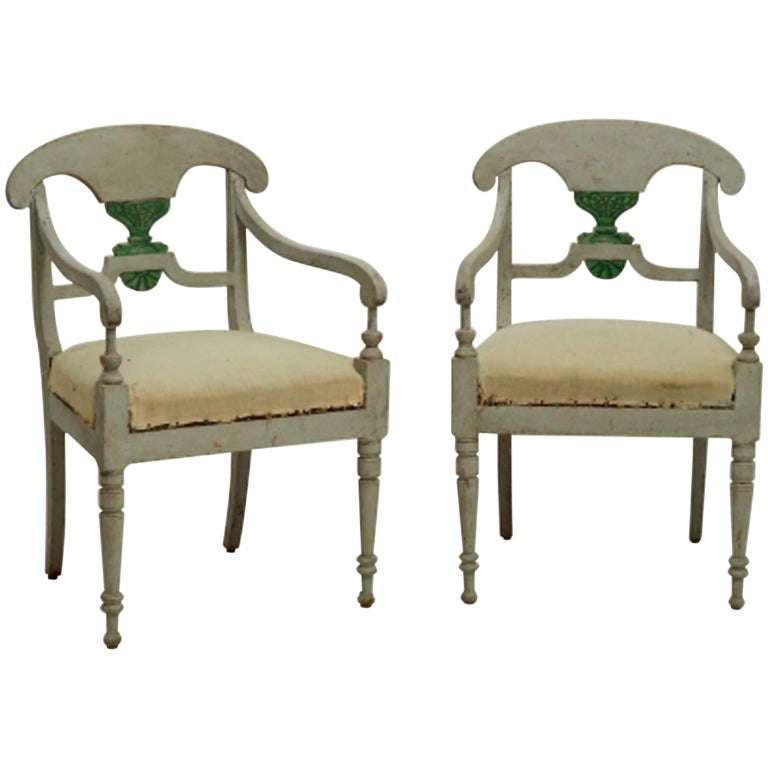 19th Century Pair of Swedish Armchairs For Sale