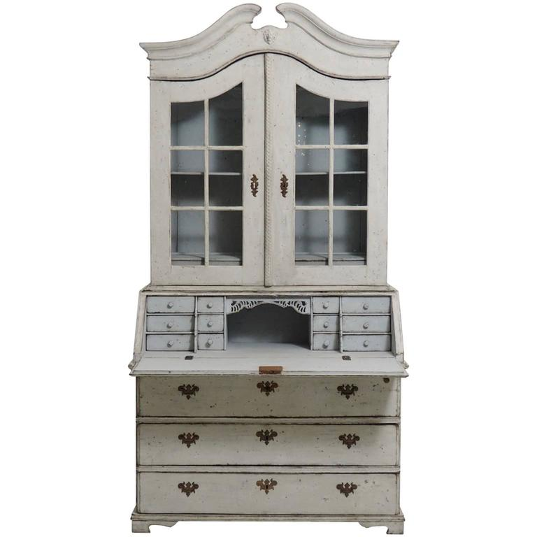Swedish baroque glass cabinet two door 18th century for for Baroque glass door