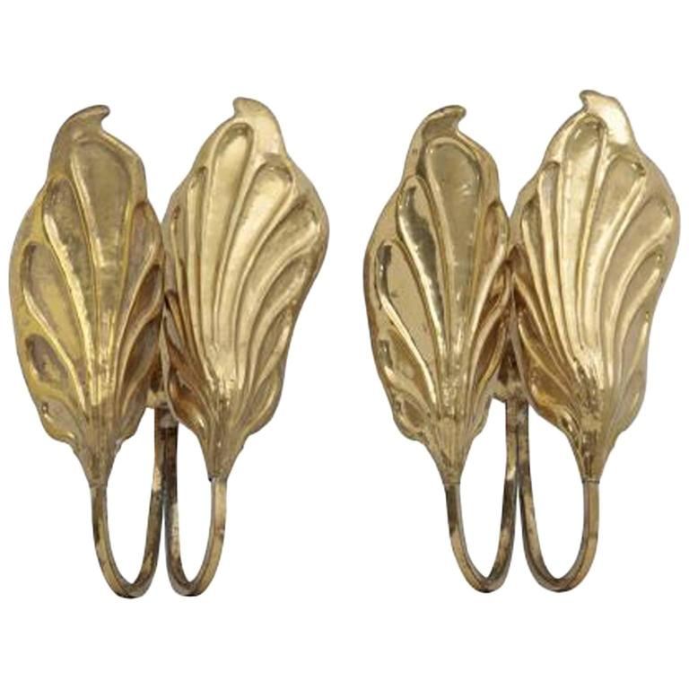 Pair of 20th Century Wall Sconces in Brass Tomaso Barbi