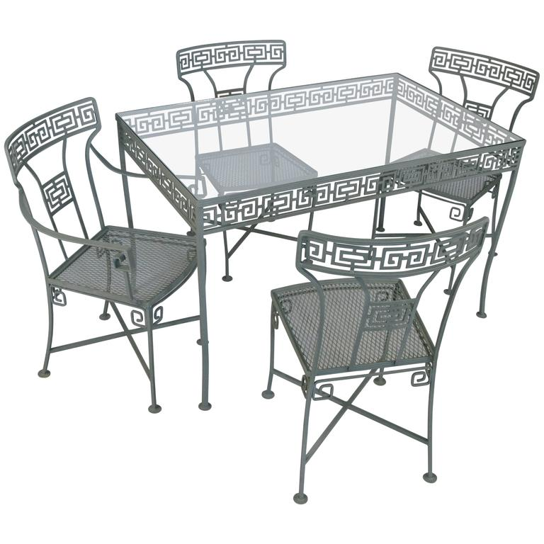 Vintage Wrought Iron Greek Key Dining Table And Chairs 1