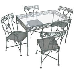 Vintage Wrought Iron Greek Key Dining Table and Chairs