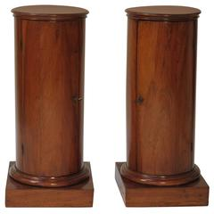 Pair of Fruitwood Column Cabinets
