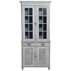 Swedish Gustavian Painted Book Cabinet, 19th Century