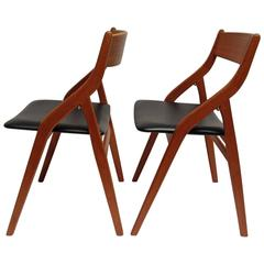 Spectacular Pair of 1960s Danish Folding Chairs by Dyrlund