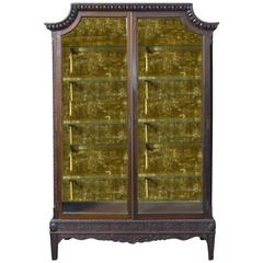 Chinese Chippendale Mahogany Display Cabinet Turn of the Century