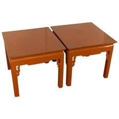 Pair of Persimmon Tone Tables with Gilt Detailing