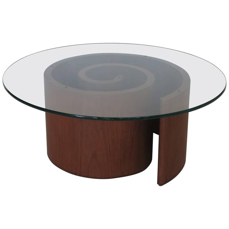 Vintage Vladimir Kagan Walnut Snail Coffee Table At 1stdibs