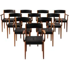 Fritz Hansen Set of Ten Dining Chairs in Teak and Black Leather