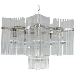 Gaetano Sciolari for Lightolier Glass Rod and Chrome Chandelier