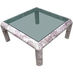 Square Marble Low Table with Inset Smoked Glass Top